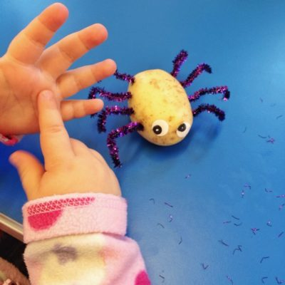 "Toddlers craft today ""Spud"" the potato spider! (Not my idea – I can't take the credit!)"