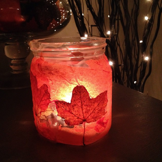 Leaf lantern made by my son - easy autumn fall home decor craft for kids