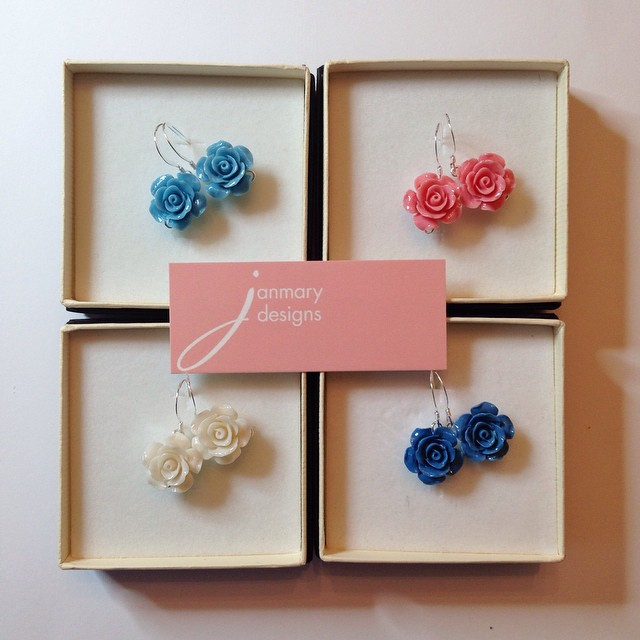 vintage style flower earrings from Janmary designs - handcrafted jewellery from Northern Ireland