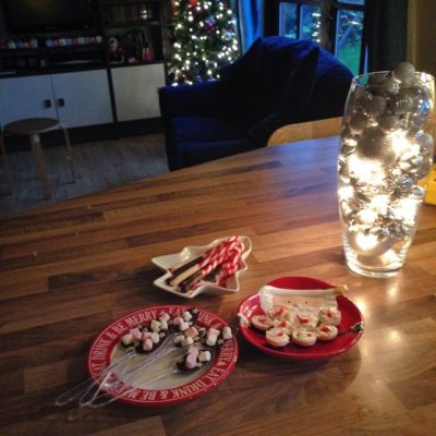 Getting the food ready for daughter's 15th birthday – chocolate spoons & chocolate coated candy canes for hot chocolate – thank you Pinterest!