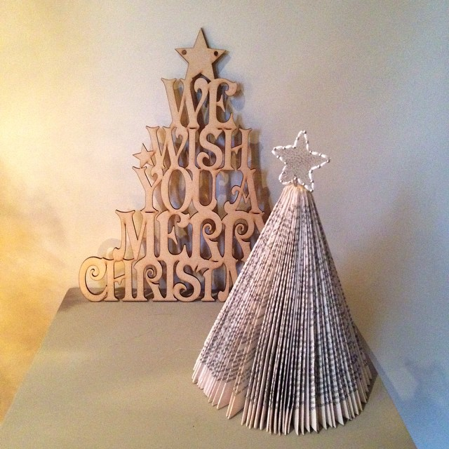 Christmas tree made from paperback book - easy Christmas craft