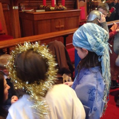Nativity dress rehearsal for next week's Sunday School carol service