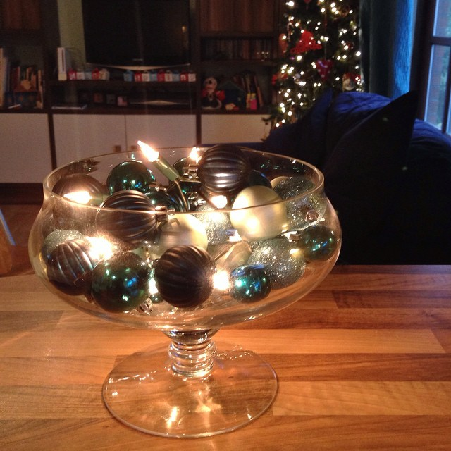 A Bowl Full Of Baubles And Fairy Lights