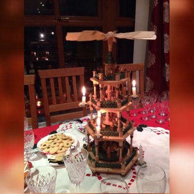 Beautiful Christmas pyramid and a lovely supper with friends this evening (our son used to call this a Jesus helicopter!)