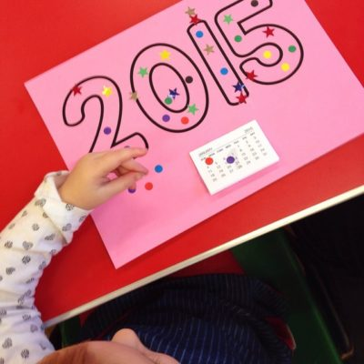 Easy toddler calendar craft for New Year
