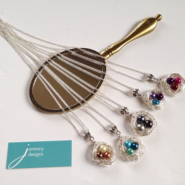 Working on some new handmade wire birds nest pendants for Janmary Designs - which one do you prefer?