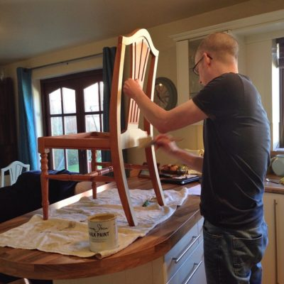 Annie Sloan chalk paint makeover in progress – my husband is painting our dining room furniture