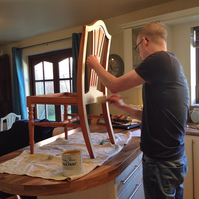 Annie Sloan chalk paint makeover in progress - my husband is painting our dining room furniture