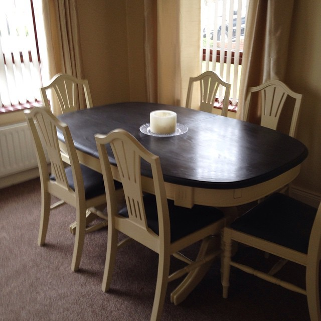 Chalk paint makeover complete - pine dining table and chairs transformed with Annie Sloan Chalk Paint