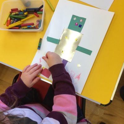 At our Toddler Group today we made robot pictures