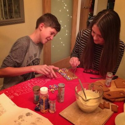 Making a ginger bread house with our Aussie friends