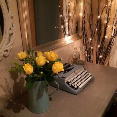 – roses – vintage typewriter – fairy white lights –