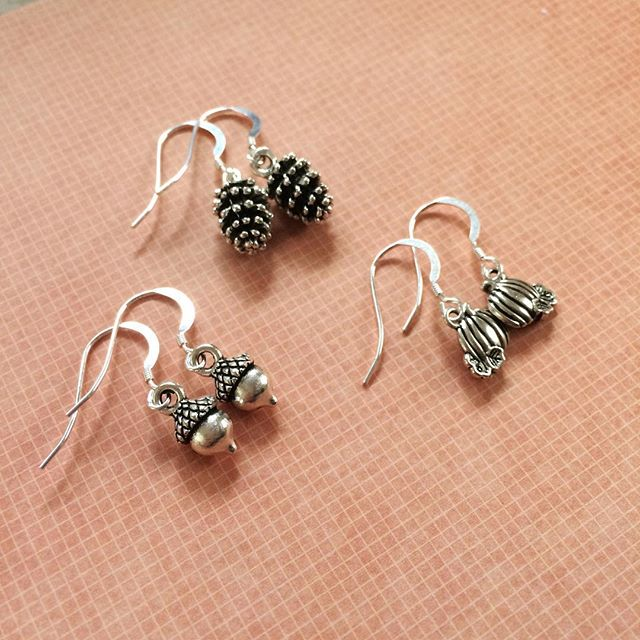Perfect earrings for Autumn from Janmary Designs - acorns, pinecones and pumpkins ......