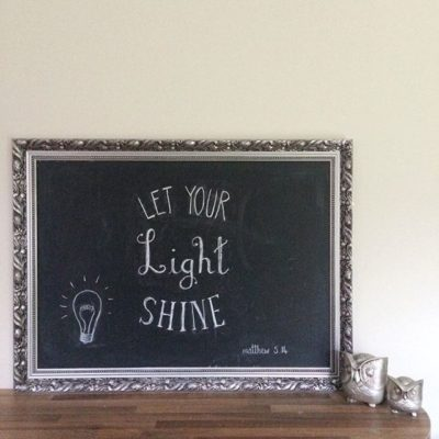 Let your light shine matt 5v14 …. chalkboard art