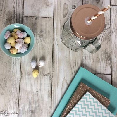 Notebooks and mini chocolate eggs