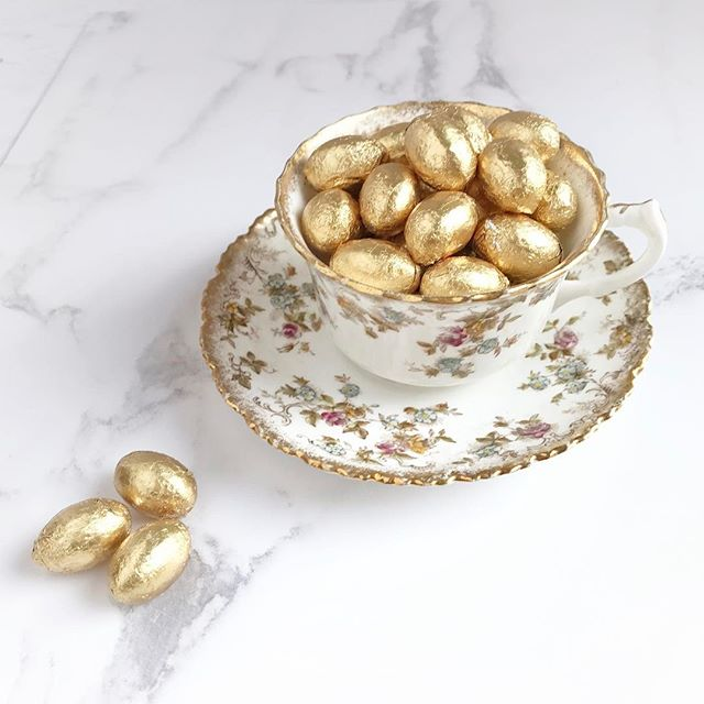 Golden eggs and vintage china .... just because!