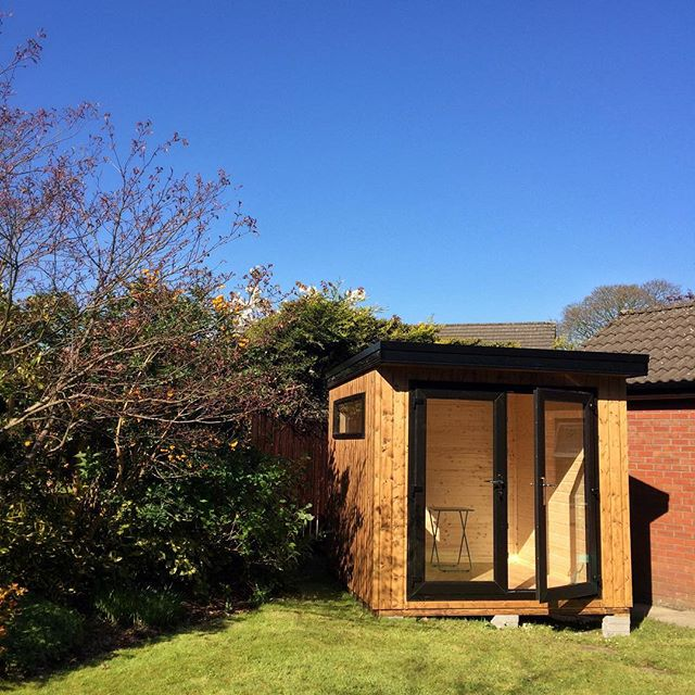 New shed at the bottom of our garden .... looking forward to electricity, paving and sofa!