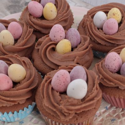Easter Chocolate Cupcakes with mini eggs