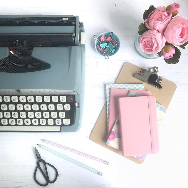 Vintage typewriter and pretty stationery
