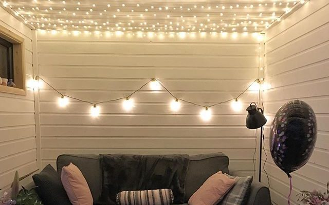 Pretty white fairy lights for our shed #notjustforchristmas